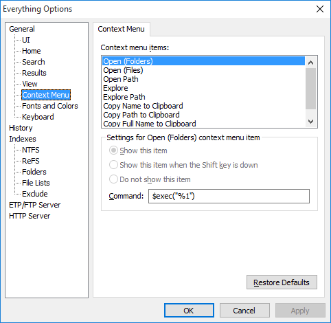 Everything Options Context Menu