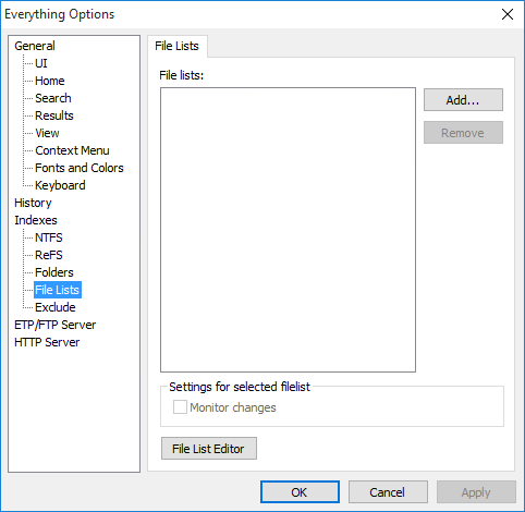 Everything Options File Lists