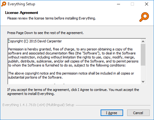 Everything Installer License Agreement